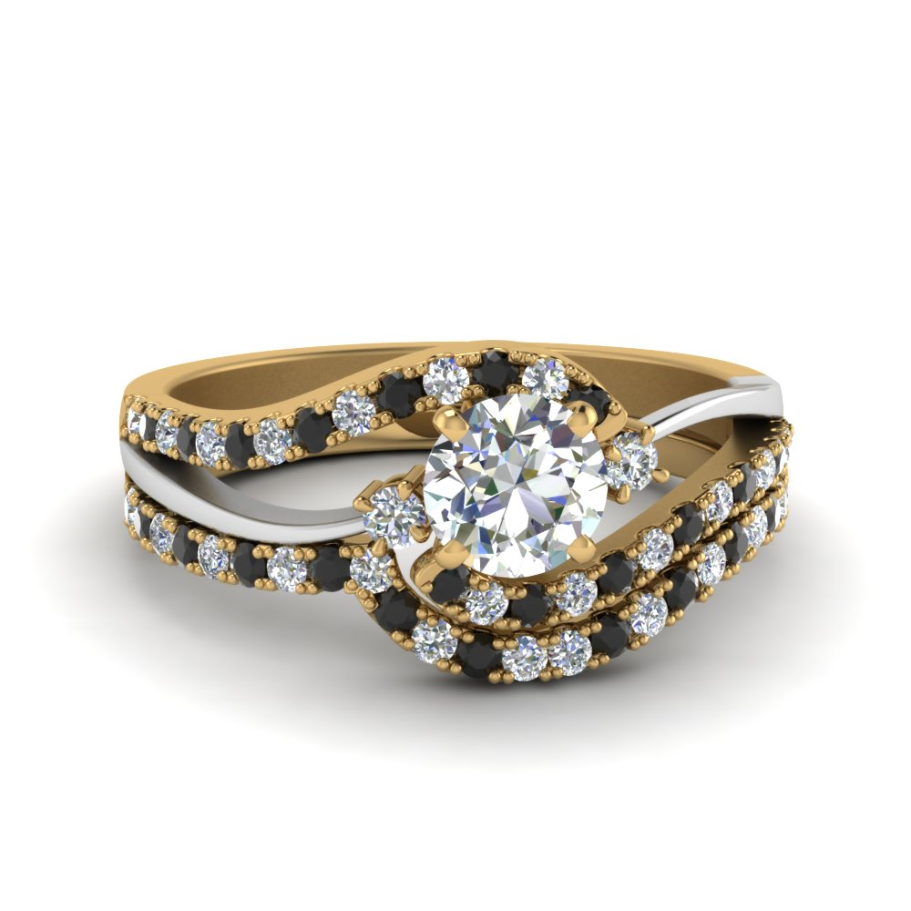Black Diamond Gold Wedding Set