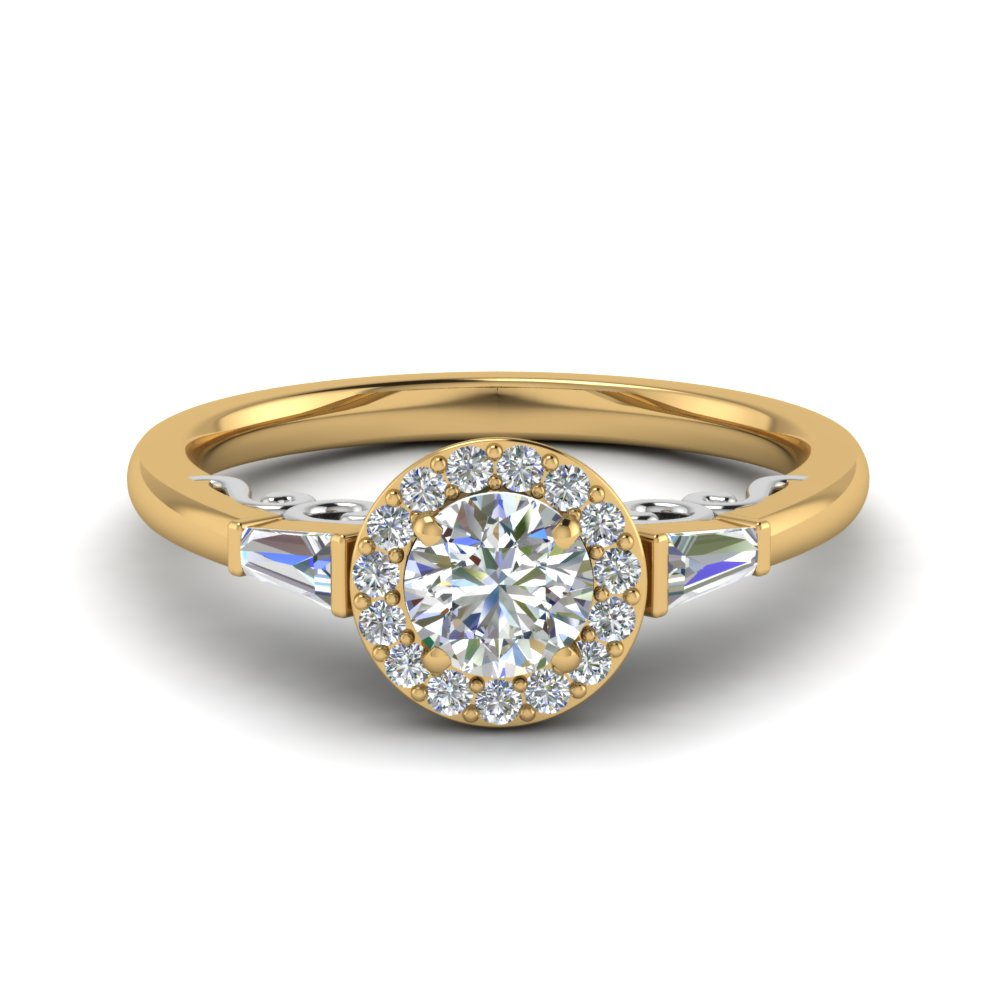 Round Cut Two Tone Halo Diamond Engagement Ring And