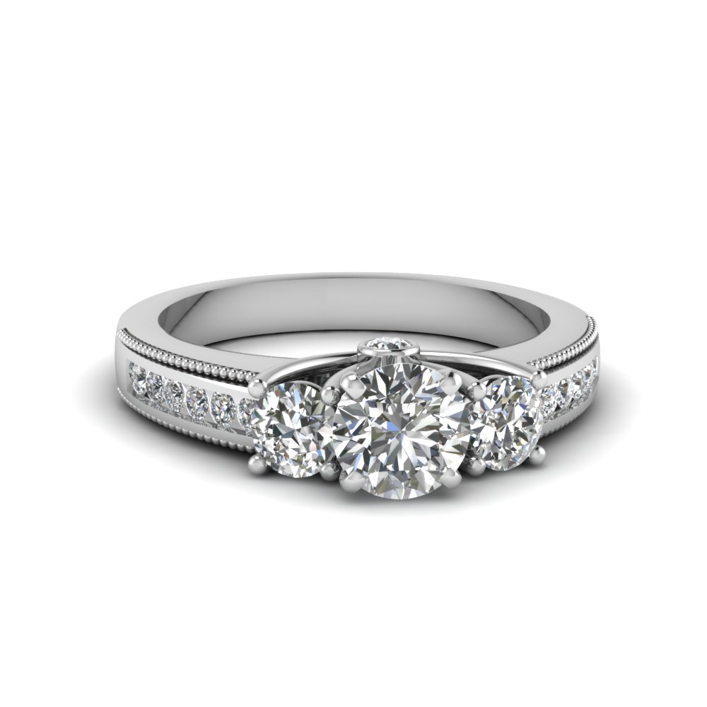 3 stone milgrain round diamond engagement ring in FDENR7325ROR NL WG