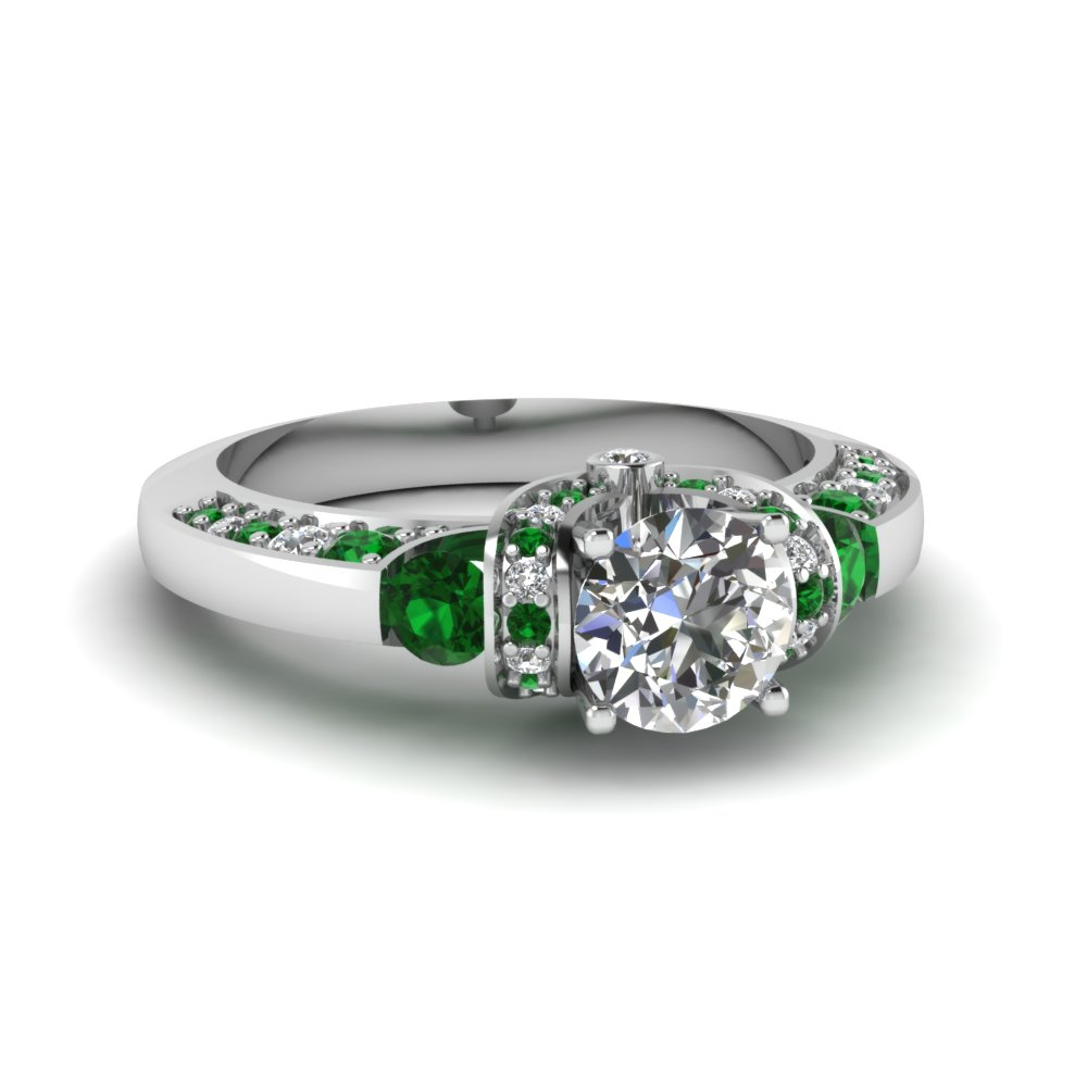 Tension Set Emerald Diamond Ring For Her