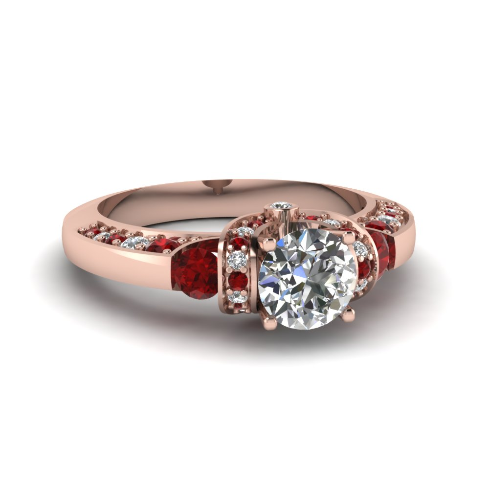 Pink Gold Ruby & Diamond Tension Round Ring