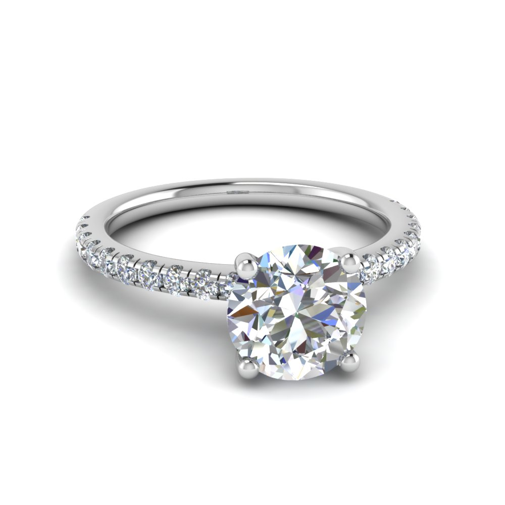 U Prong Round Shaped Moissanite Ring