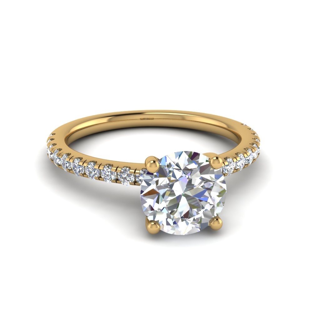 round cut u prong diamond engagement ring in FD8362ROR NL YG