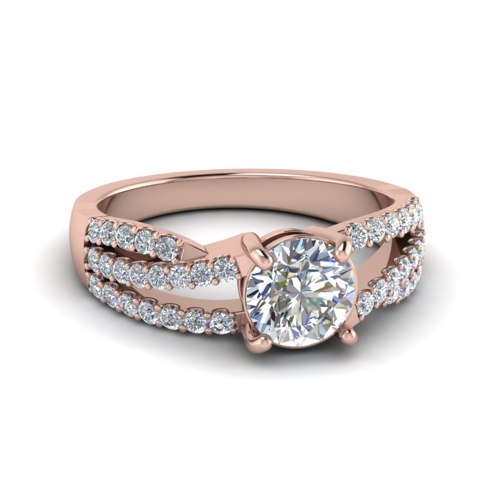 round cut u prong split shank trio band moissanite engagement ring in 14K rose gold FDENR8173ROR NL RG