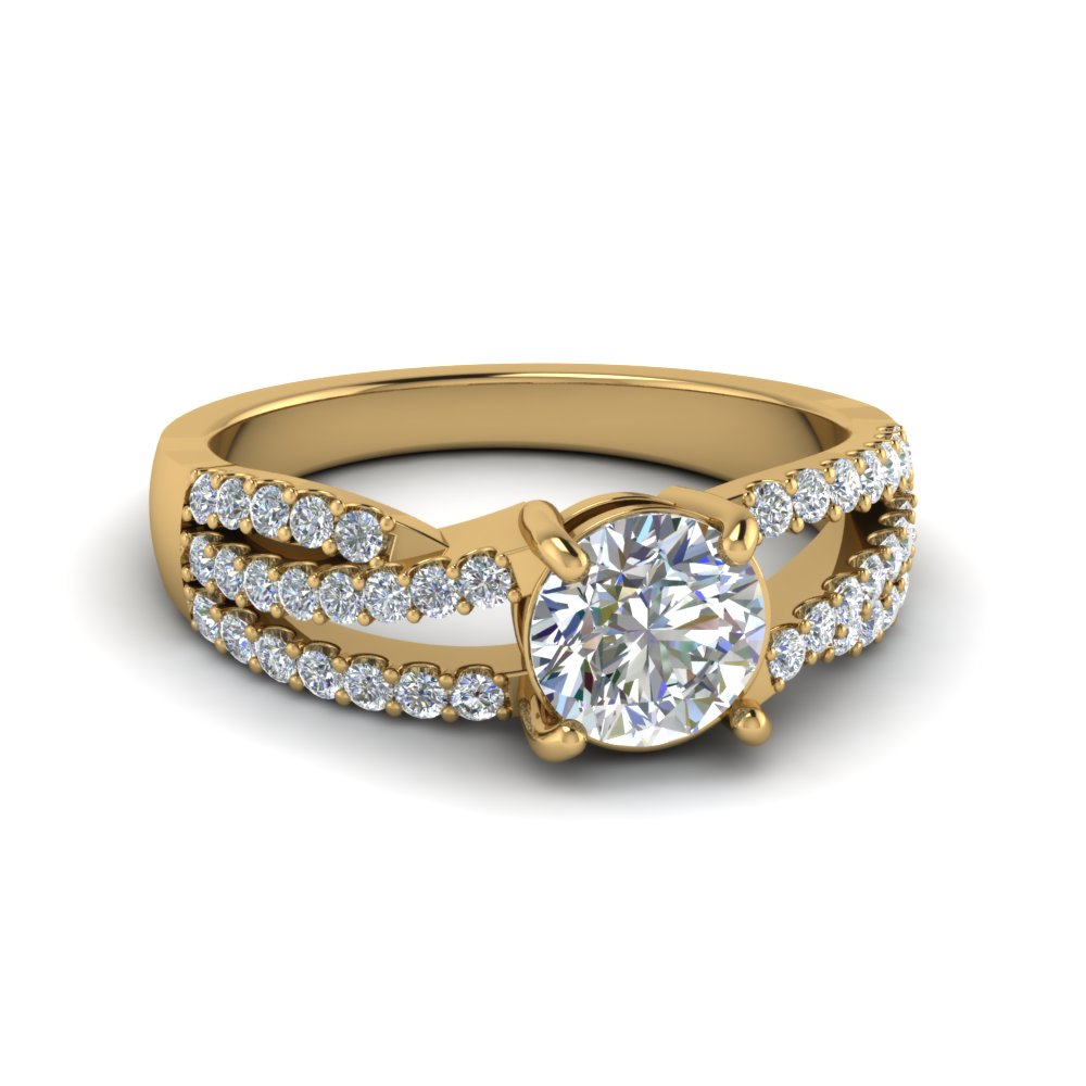 round cut u prong split shank trio band diamond engagement ring in 18K yellow gold FDENR8173ROR NL YG