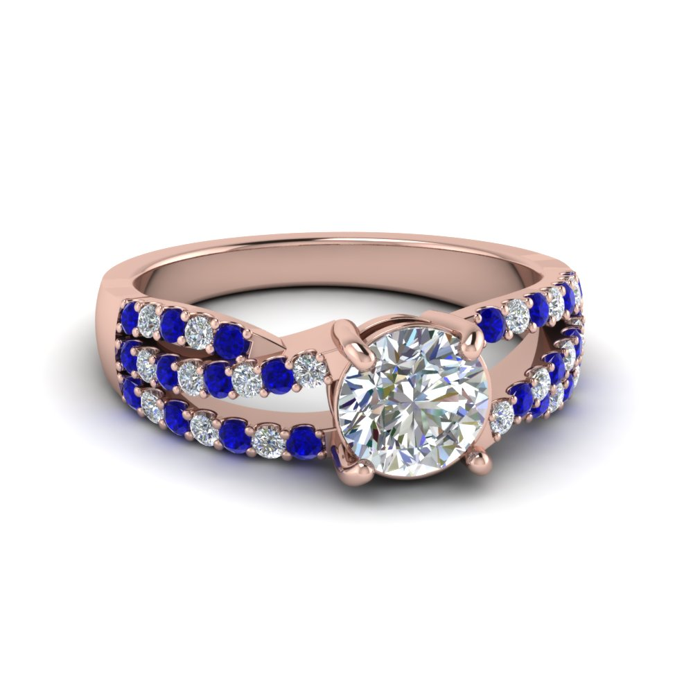 Rose Gold 3 Rows Twist Pave Set Round Diamond and Sapphire Engagement Ring