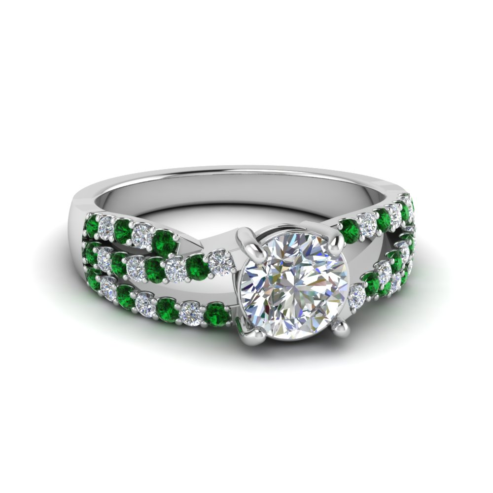 round cut u prong split shank trio band diamond engagement ring with emerald in 950 Platinum FDENR8173RORGEMGR NL WG