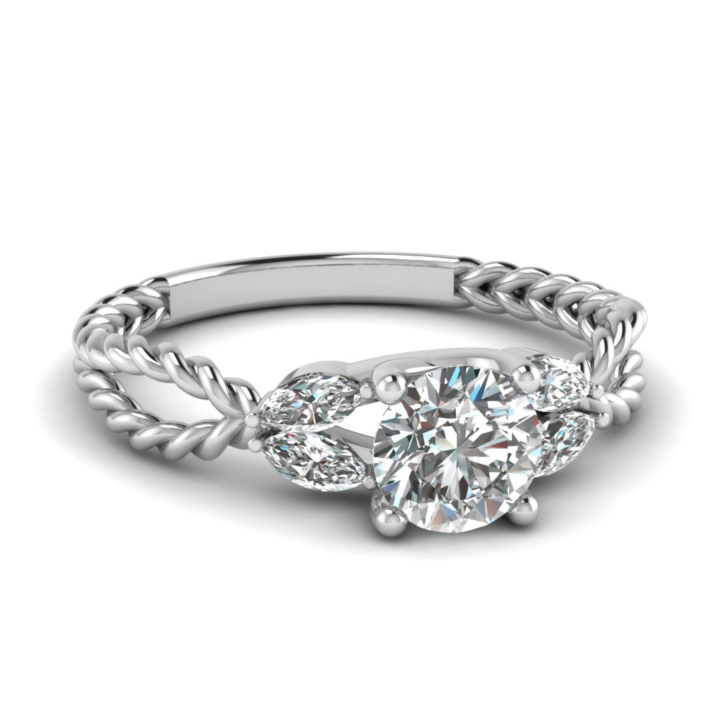 twisted leaf diamond engagement ring in FD1084ROR NL WG