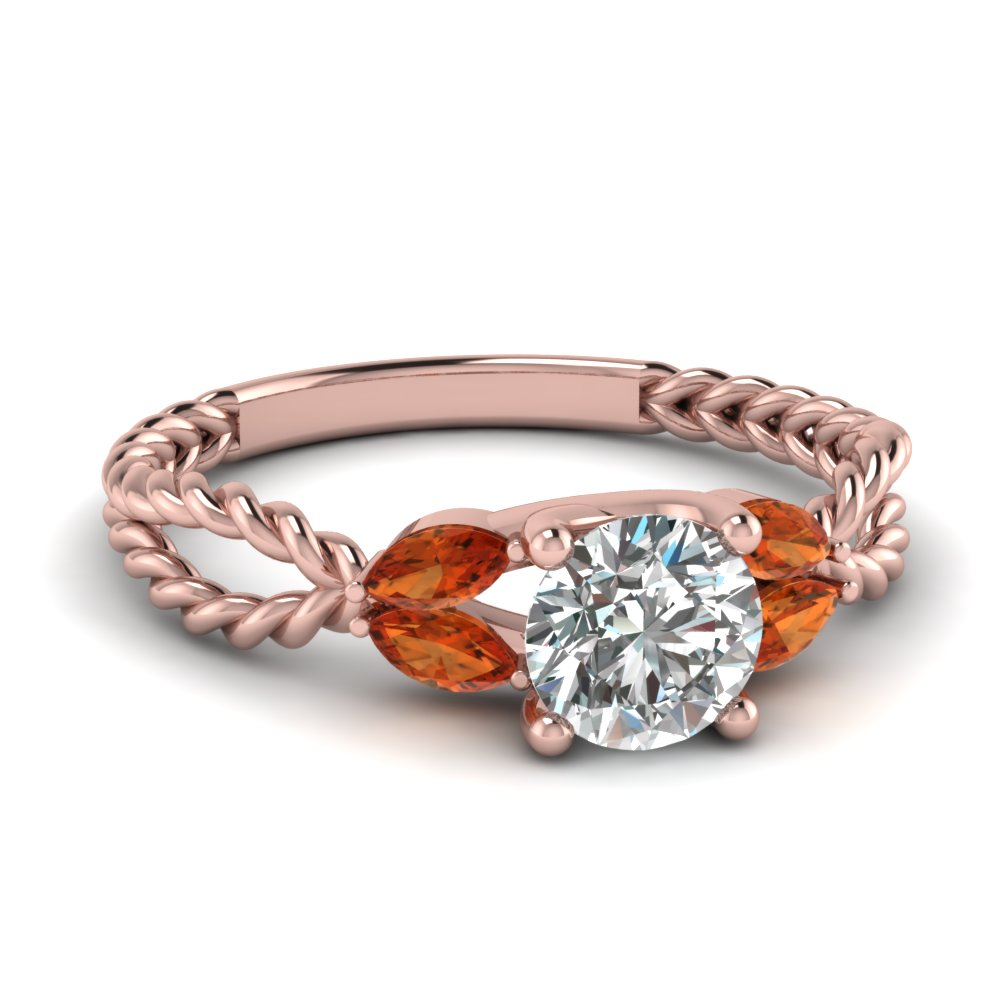 twisted leaf diamond engagement ring with orange sapphire in FD1084RORGSAOR NL RG
