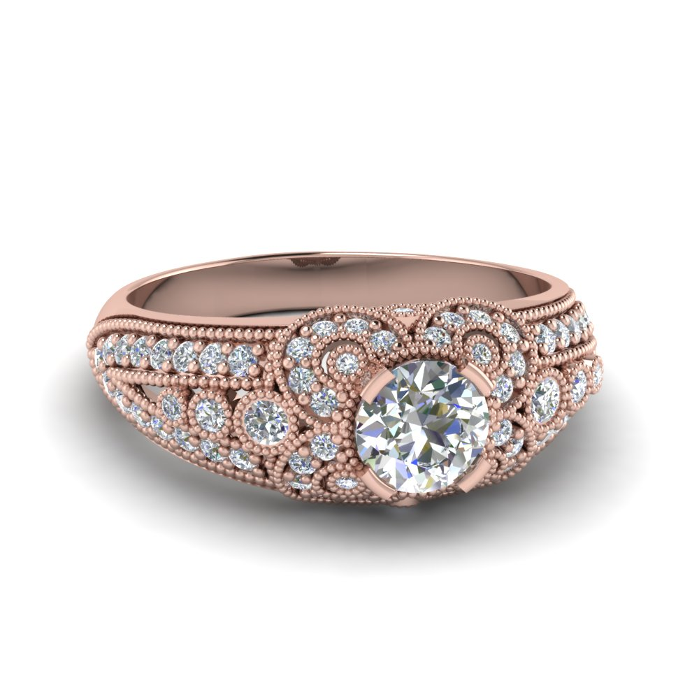 Rose Gold Round Cut Milgrain Engagement Rings