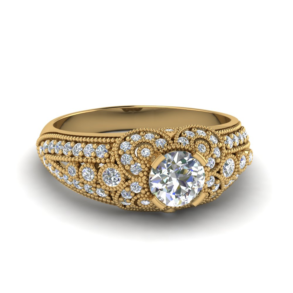 round cut victorian antique diamond vintage engagement ring in 14K yellow gold FDENR8464ROR NL YG