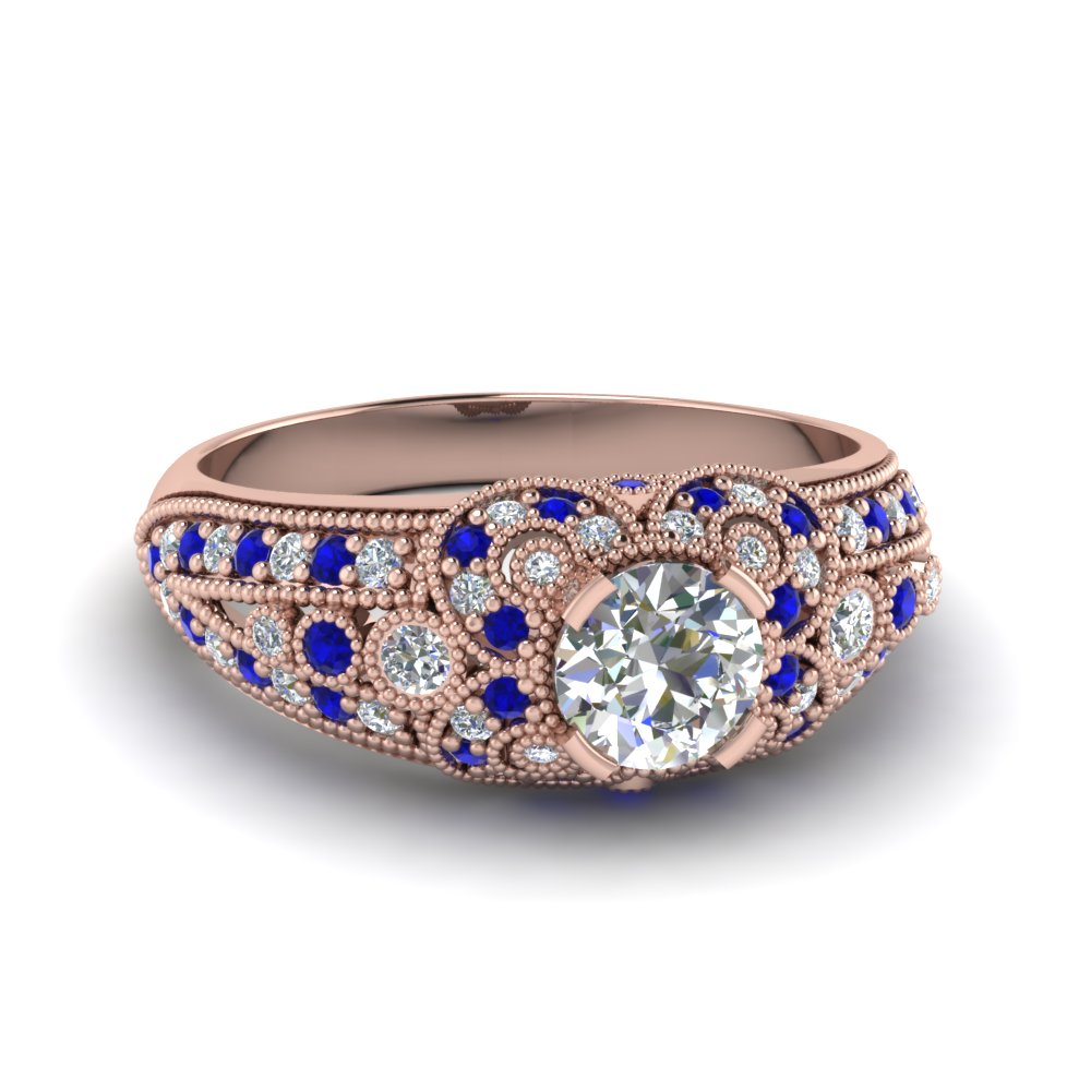 round cut victorian antique moissanite vintage engagement ring with sapphire in 14K rose gold FDENR8464RORGSABL NL RG