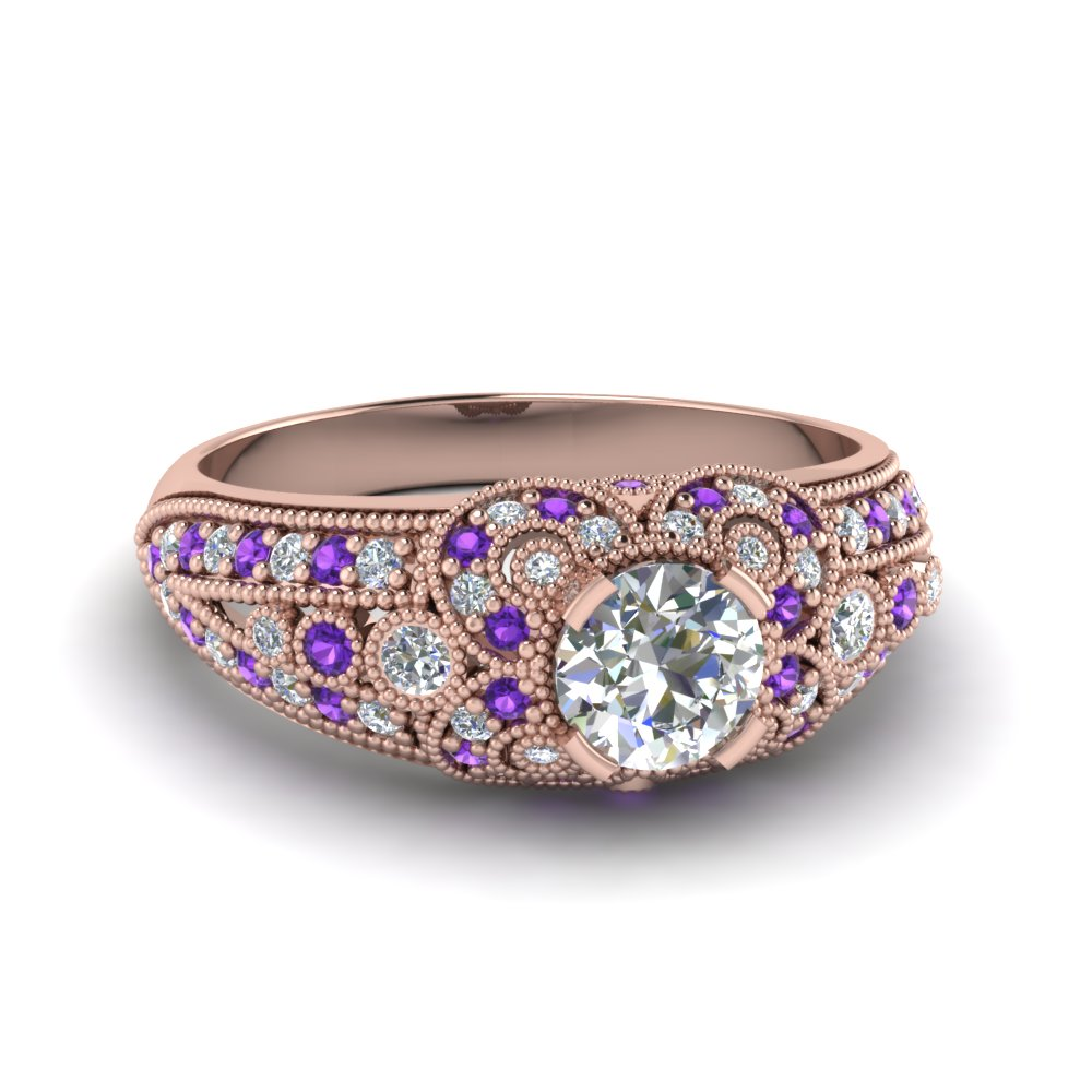 round cut victorian antique diamond vintage engagement ring with violet topaz in 14K rose gold FDENR8464RORGVITO NL RG