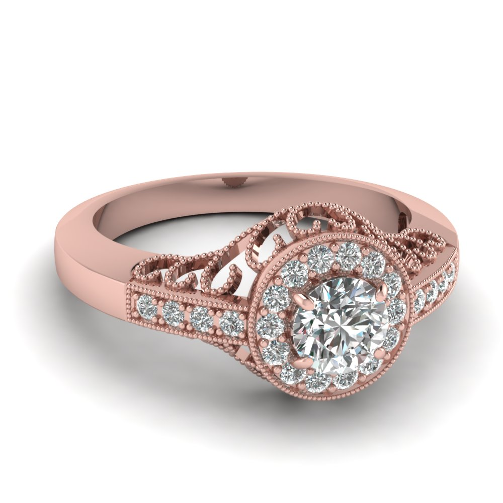 Victorian Halo Vintage Rose Gold Engagement Ring