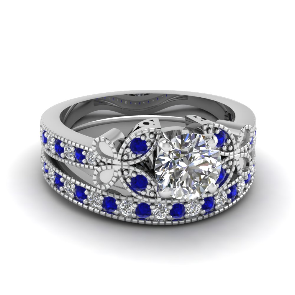 Round Cut Vintage Butterfly Diamond Wedding Ring With Blue Sapphire In 18K White Gold FDENS3077ROGSABL NL