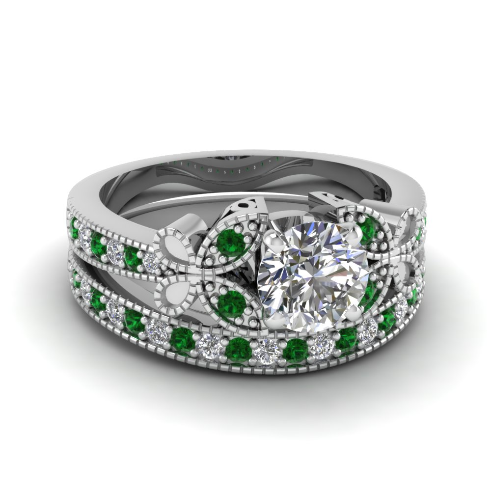 Round Cut Diamond Wedding Ring Sets With Green Emerald In 14k White Gold