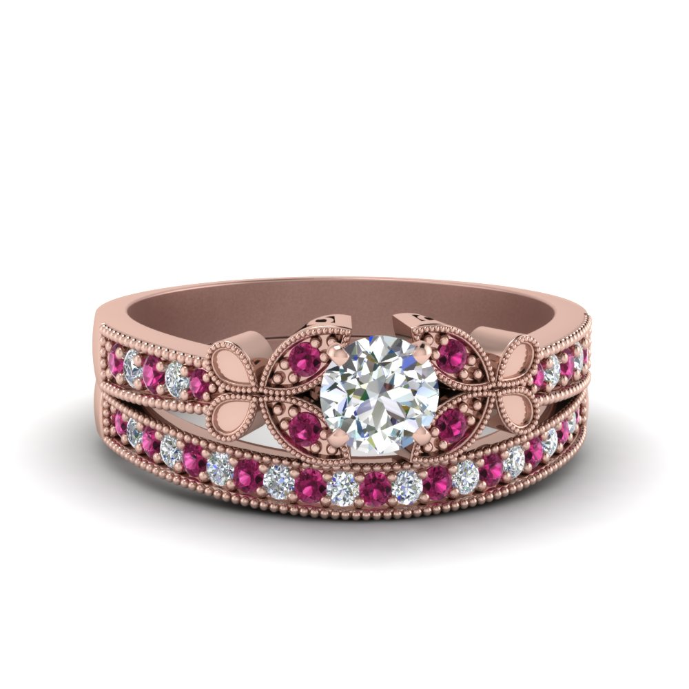 round cut vintage butterfly diamond wedding ring with pink sapphire in FDENS3077ROGSADRPI NL RG
