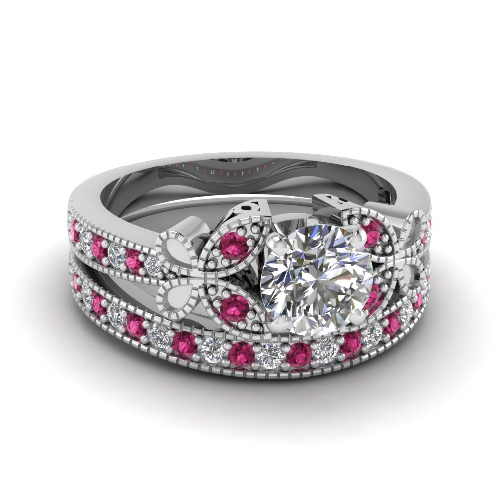 Round Cut Diamond Wedding Ring Sets With Pink Sapphire In 14k White Gold