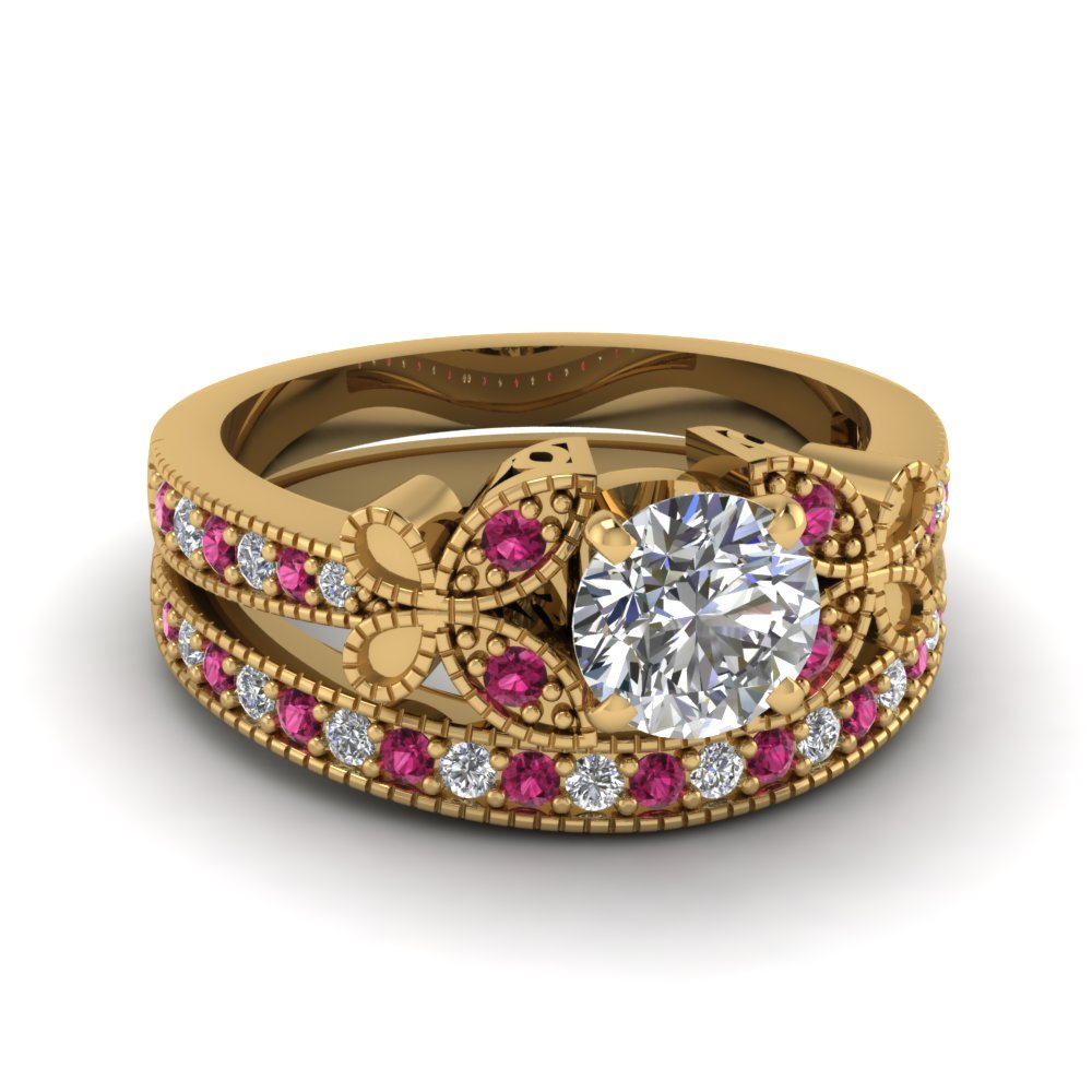 round cut vintage butterfly diamond wedding ring with pink sapphire in FDENS3077ROGSADRPI NL YG
