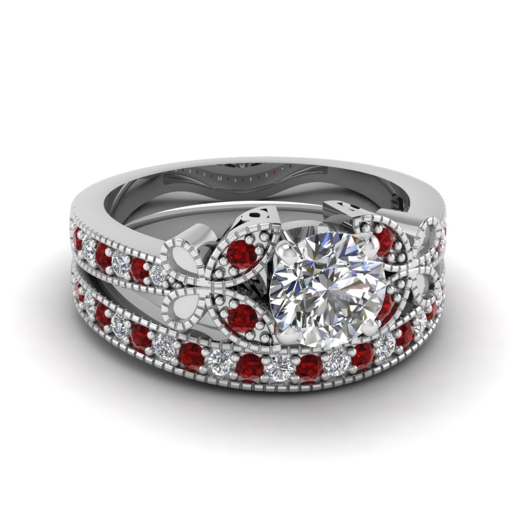 round cut vintage butterfly diamond wedding ring with ruby in FDENS3077ROGRUDR NL WG