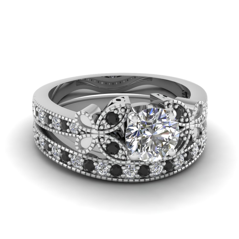 Engagement Ring Sets Round Cut Diamond Wedding Ring Sets With Black Diamond  In 14k White Gold