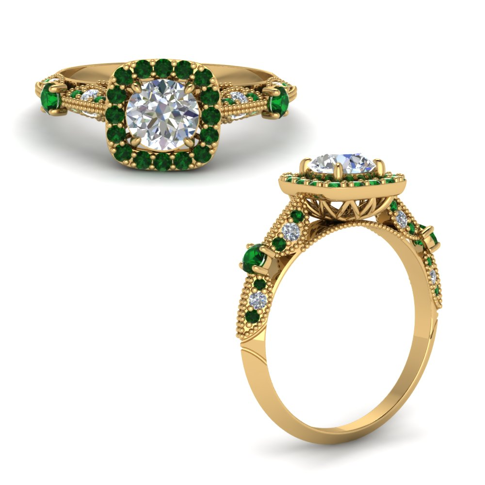 vintage halo diamond engagement ring with emerald in FD8542RORGEMGRANGLE1 NL YG