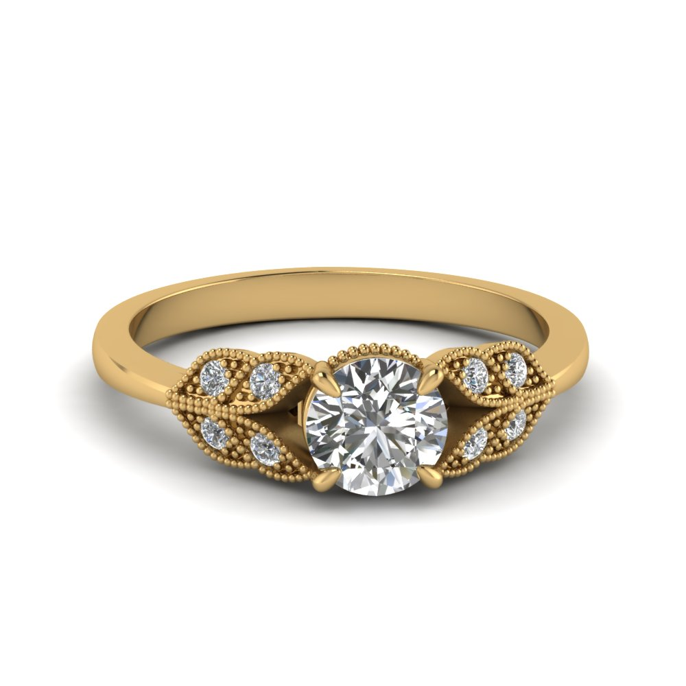 Round Cut Vintage Leaf Design Round Diamond Engagement Ring In 14K Yellow Gold