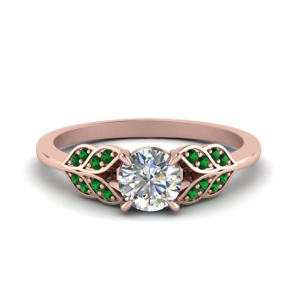 Leaf Style Round Diamond Ring