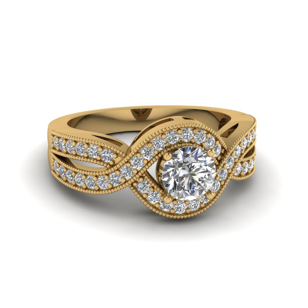 round cut vintage pave diamond interwoven engagement ring in 14K yellow gold FDENR8304ROR NL YG