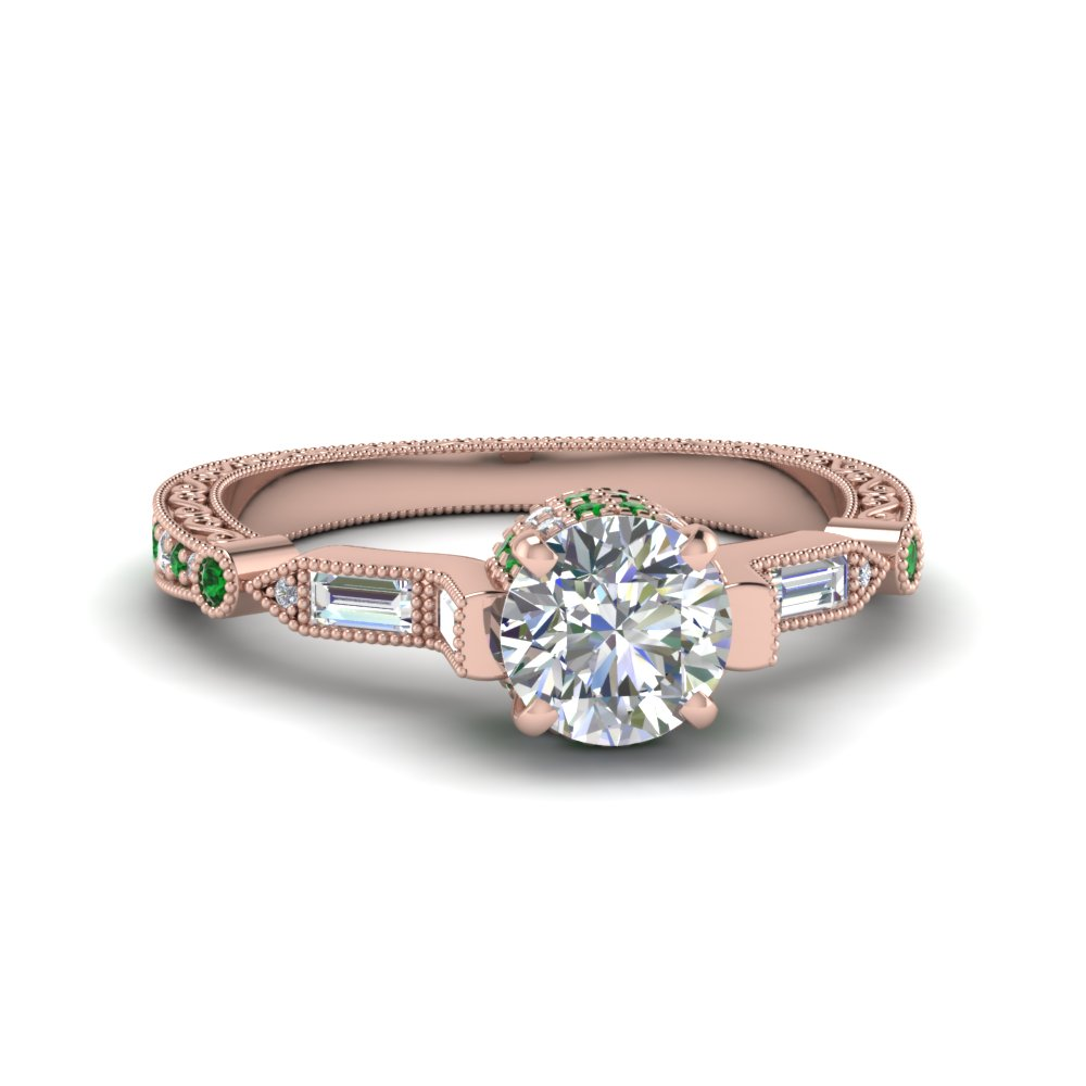 Round Cut Vintage Style Filigree Diamond Engagement Ring With Emerald In 18k Rose Gold