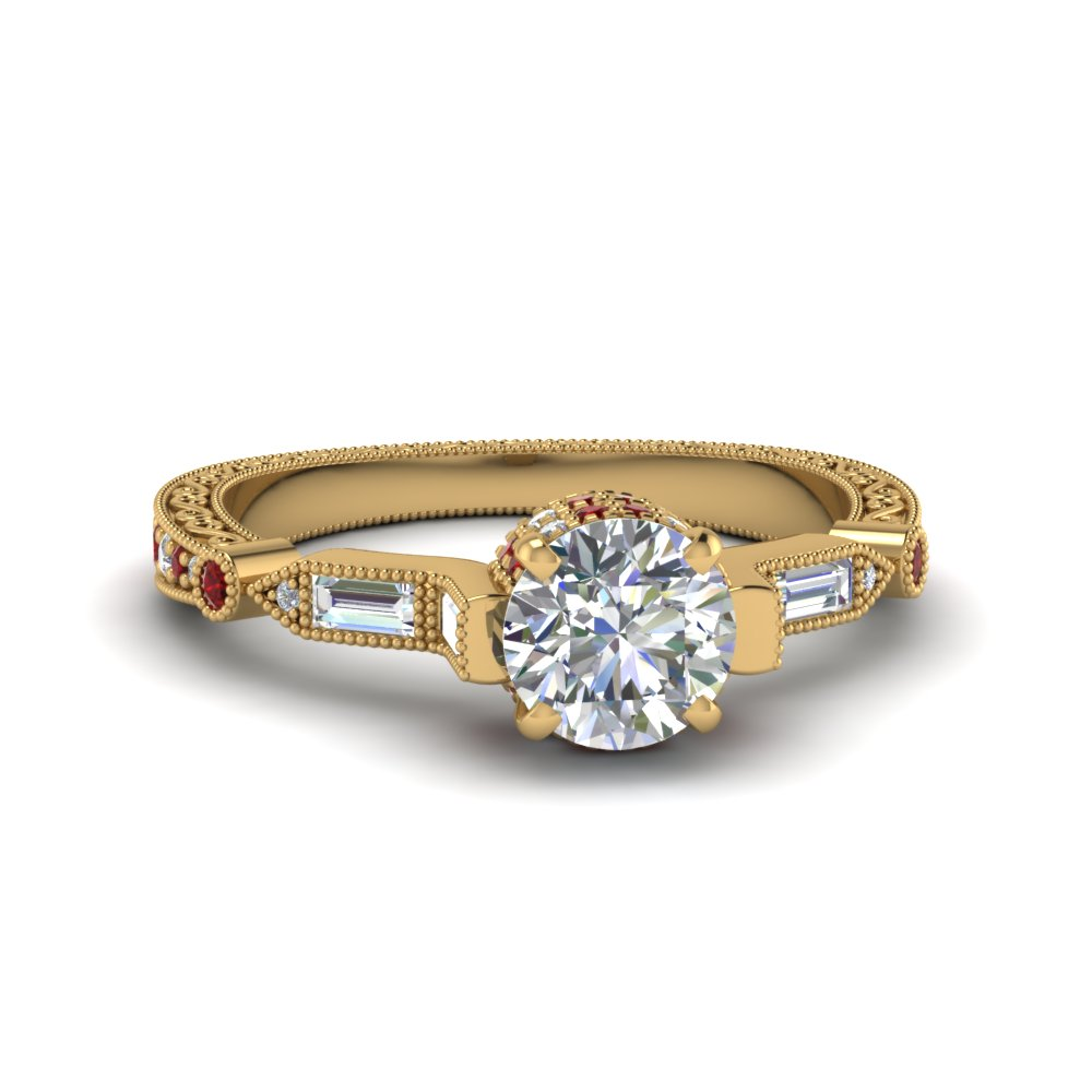 Round Cut Vintage Style Filigree Diamond Engagement Ring With Ruby In 18k Yellow Gold