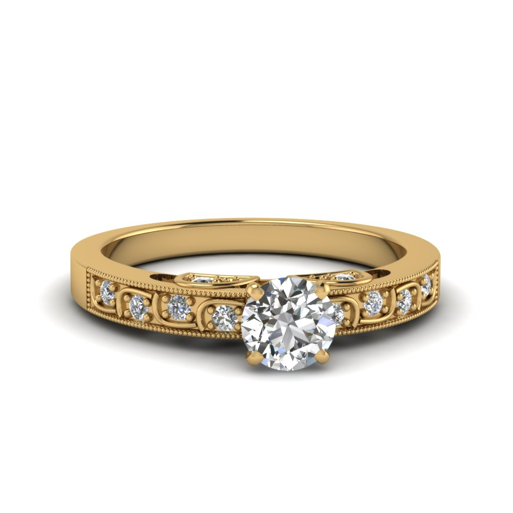 Round Cut Vintage Style Pave Diamond Ring In 14k Yellow Gold Fascinating Diamonds