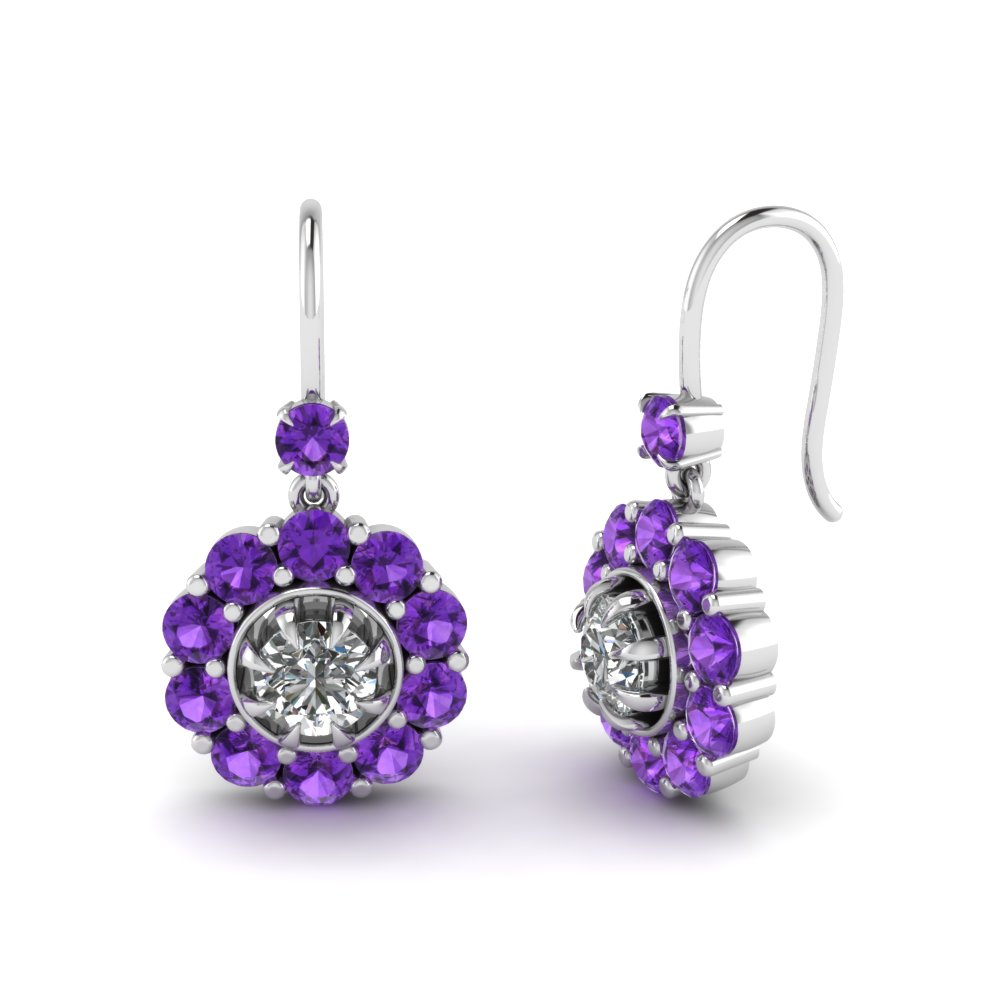 floral drop diamond dangle earring with violet topaz in FDEAR1128GVITO NL WG.jpg