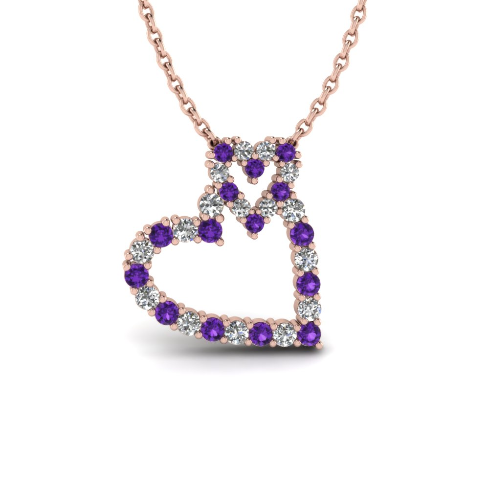 Purple Topaz Double Heart Pendant