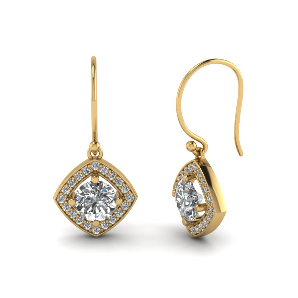 Diamond Gold Halo Drop Earrings For Women