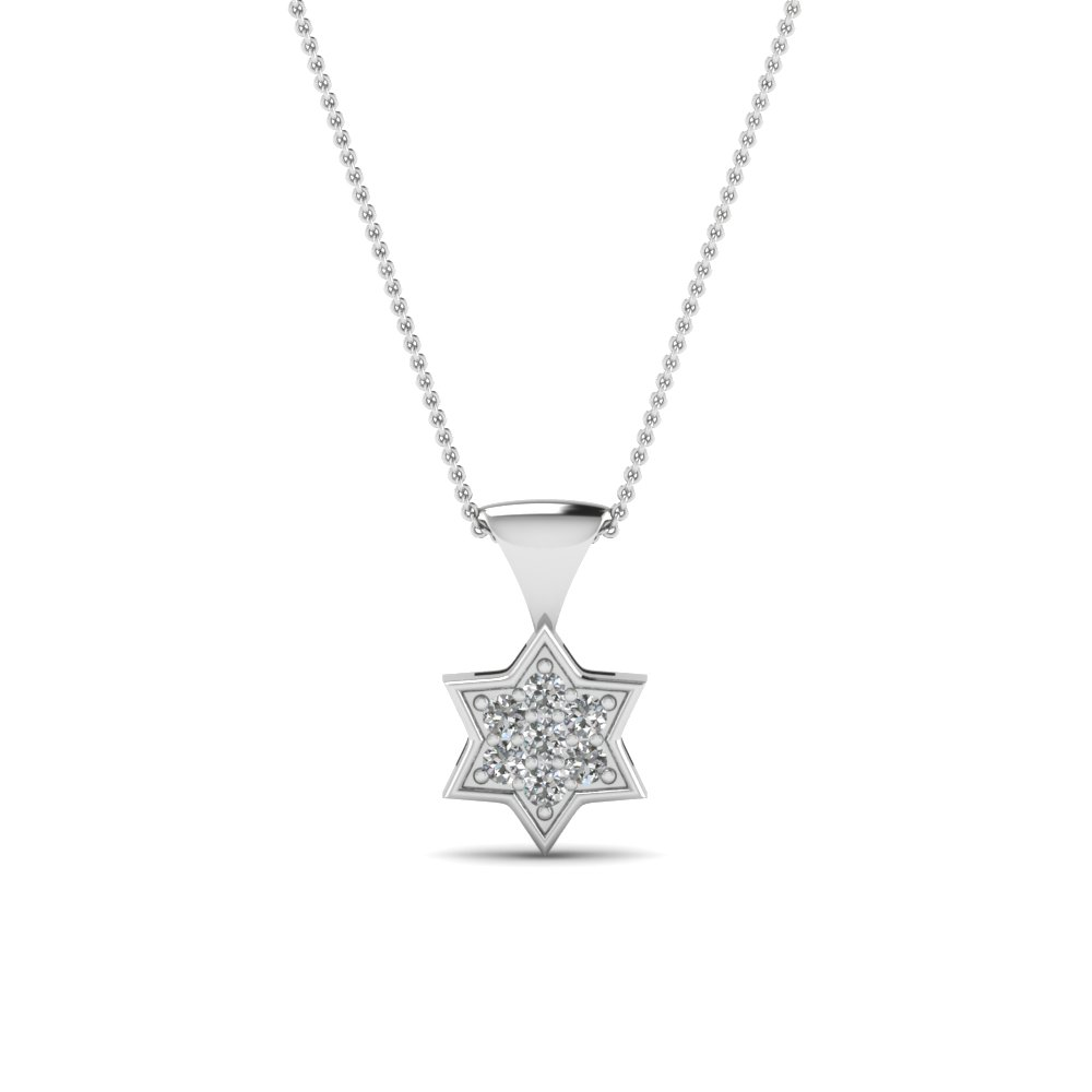 White Gold Star Diamond Pendant for Women