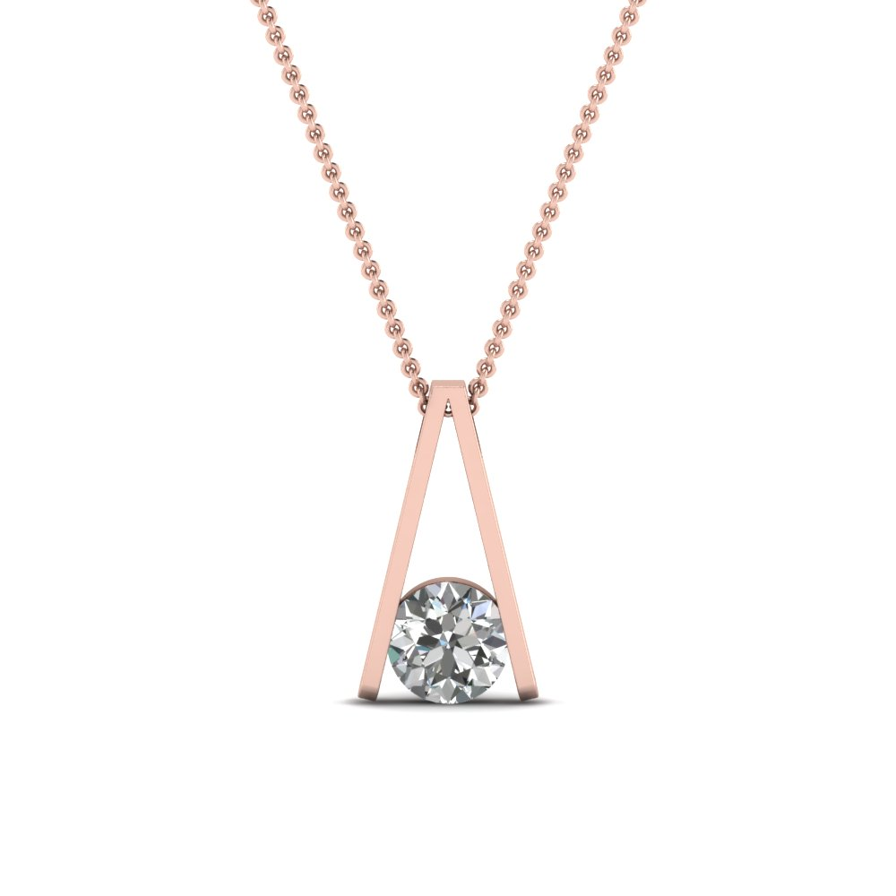 Round cut white diamond solitaire pendant in 14k rose gold round cut white diamond solitaire pendant in 14k rose aloadofball Choice Image