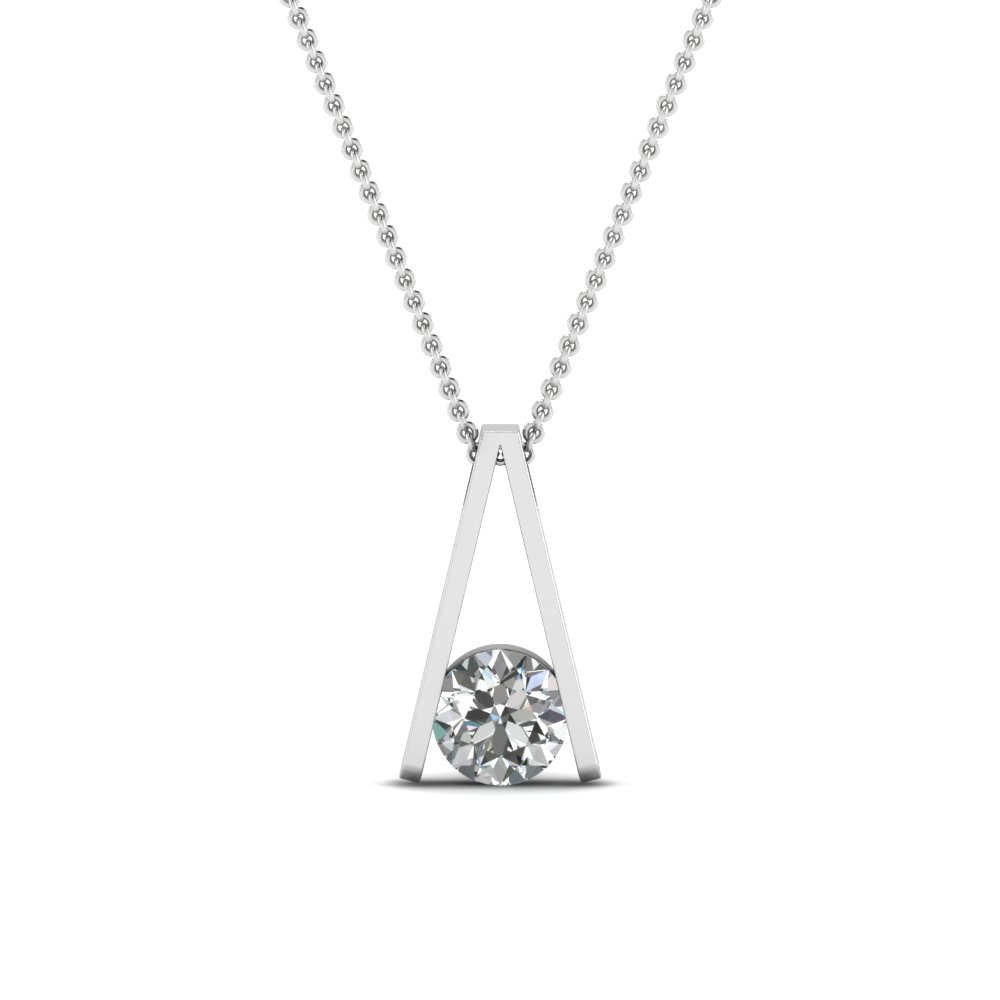 round-cut-white diamond-solitaire-pendant-in-14K-white-gold-FDPD292-NL-WG