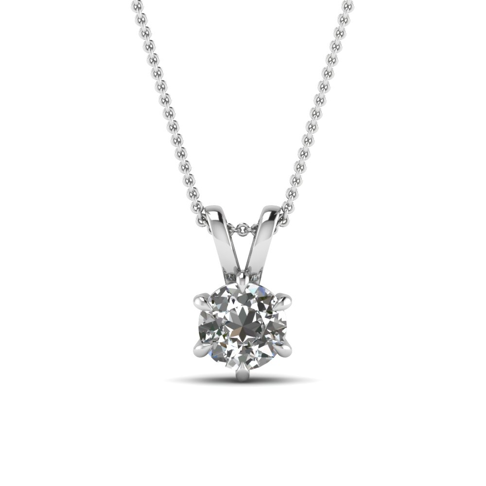 round cut white diamond solitaire pendant in 14K white gold FDPD6RO NL WG