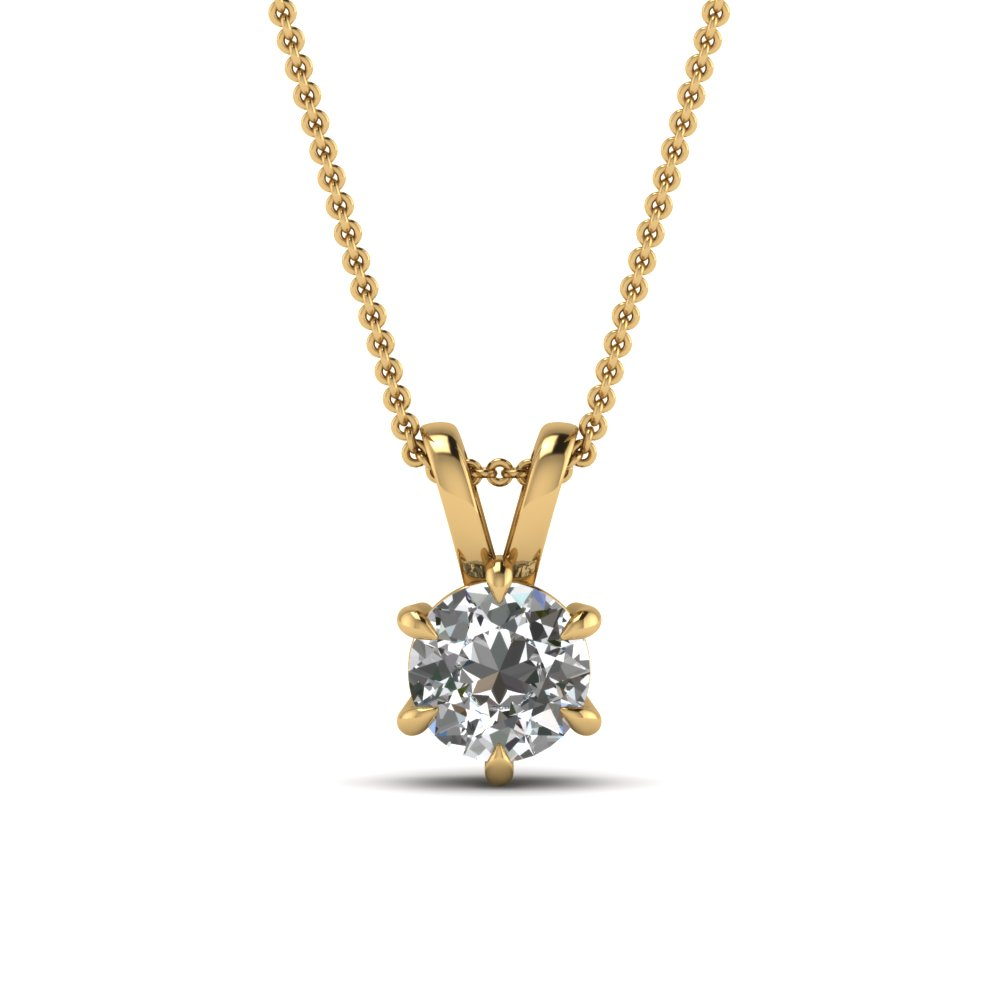 round cut white diamond solitaire pendant in 14K yellow gold FDPD6RO NL YG