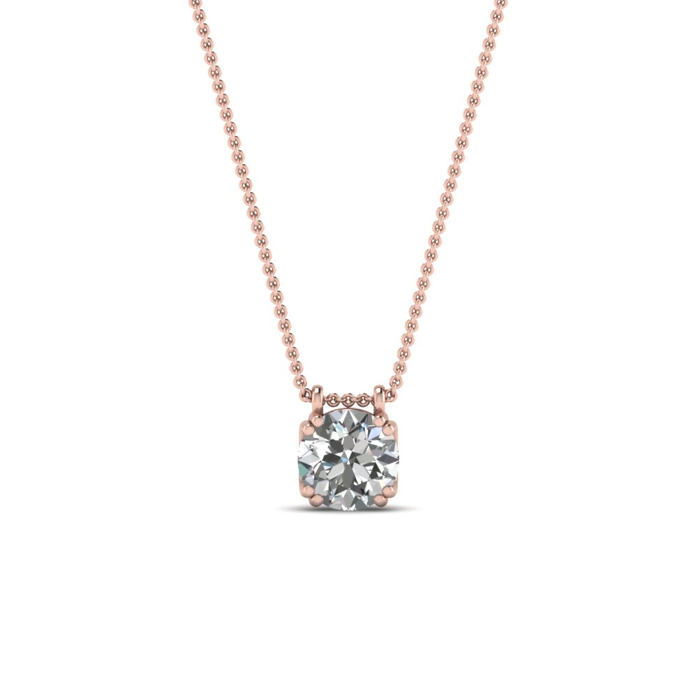 round cut diamond solitaire pendant in FDPD1935 NL RG