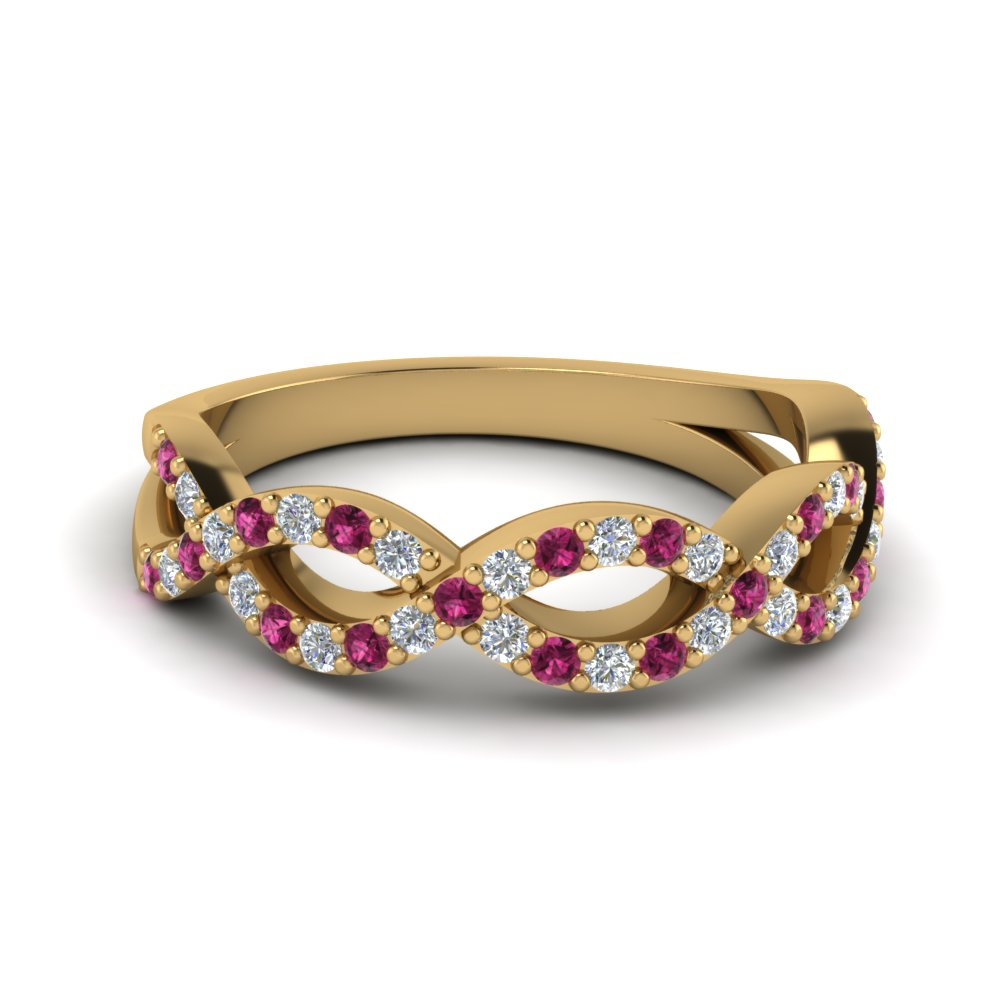 infinity twist diamond wedding band with pink sapphire in FD1078BGSADRPI NL YG