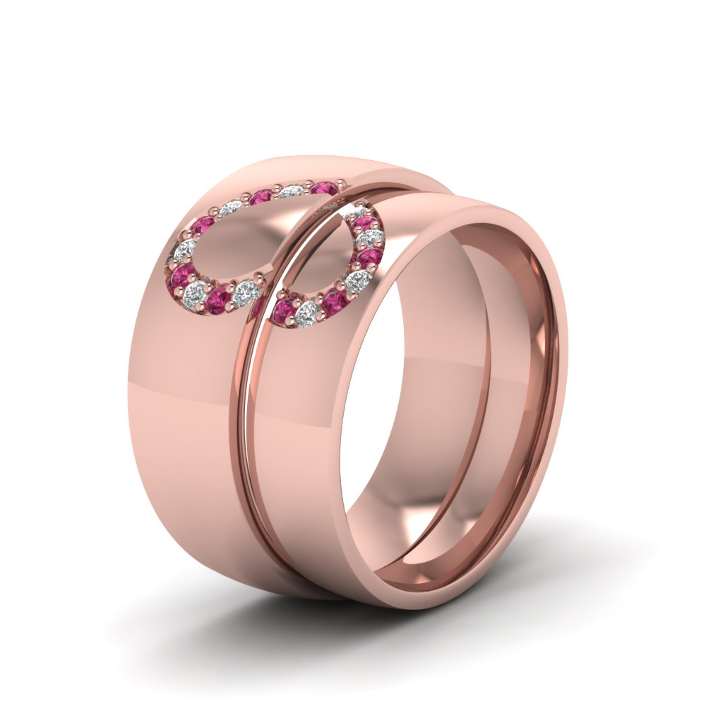 His And Her Diamond Matching Band With Pink Sapphire In 14K Rose ...