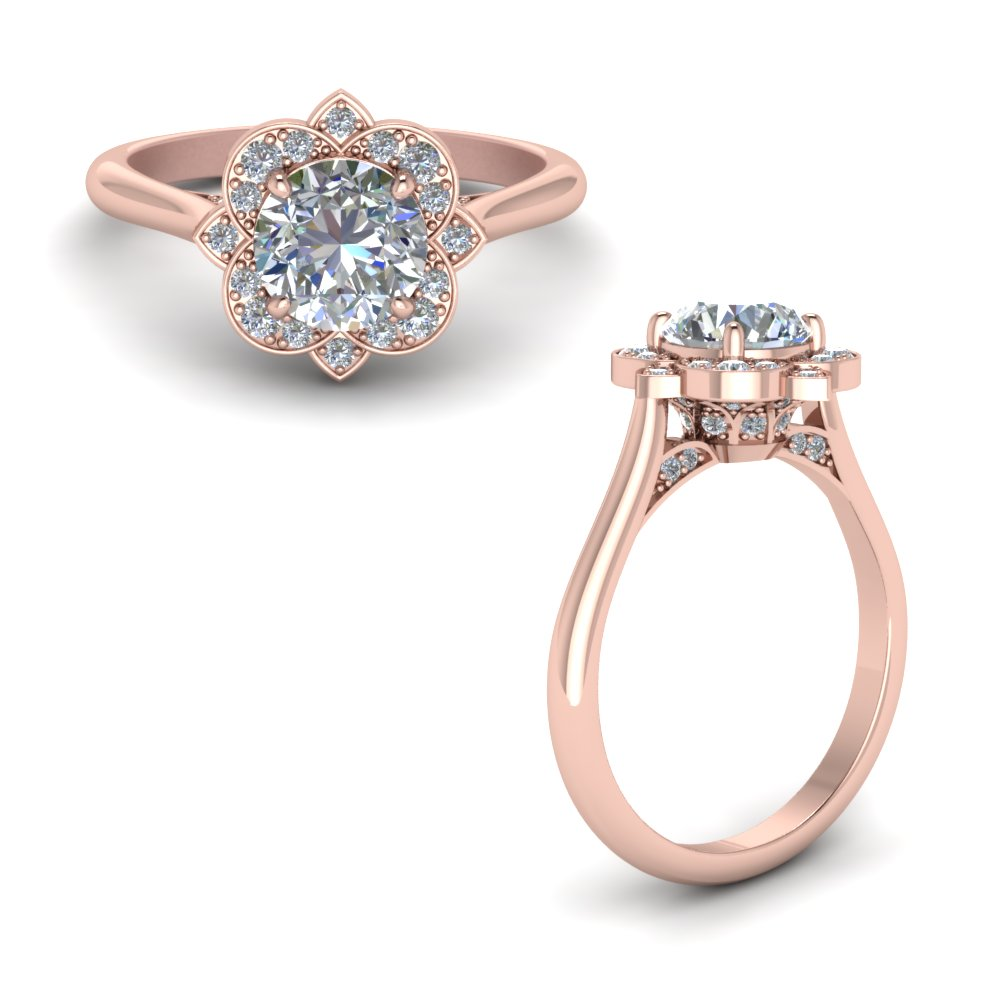 round delicate flower diamond engagement ring in 14K rose gold FD123505RORANGLE1 NL RG