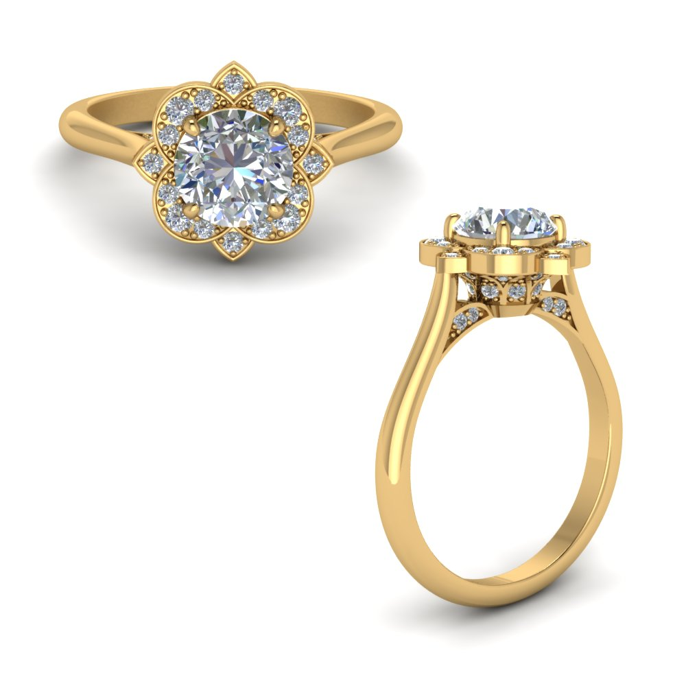 round delicate flower diamond engagement ring in 14K yellow gold FD123505RORANGLE1 NL YG