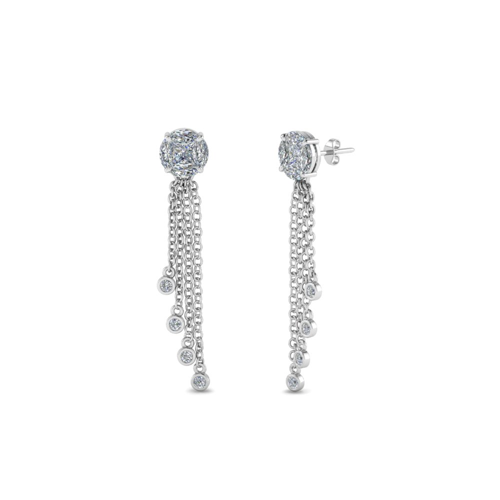 round design tassel diamond earring in 14K white gold FDEAR8440 NL WG