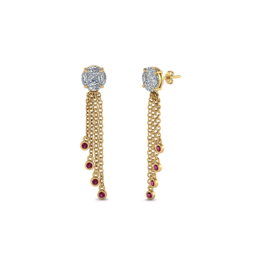 round design tassel diamond earring with pink sapphire in 14K yellow gold FDEAR8440GSADRPI NL YG