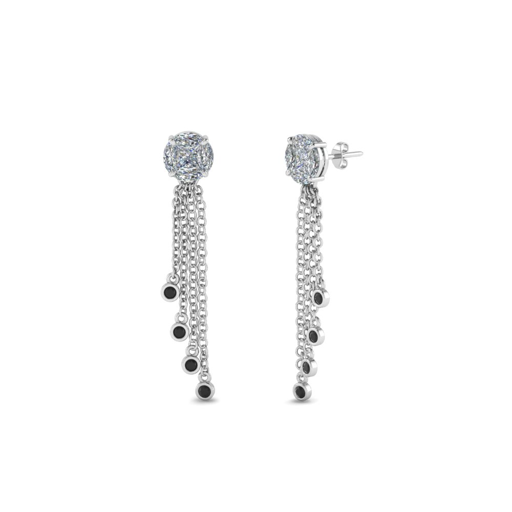 round design tassel earring with black diamond in 950 Platinum FDEAR8440GBLACK NL WG