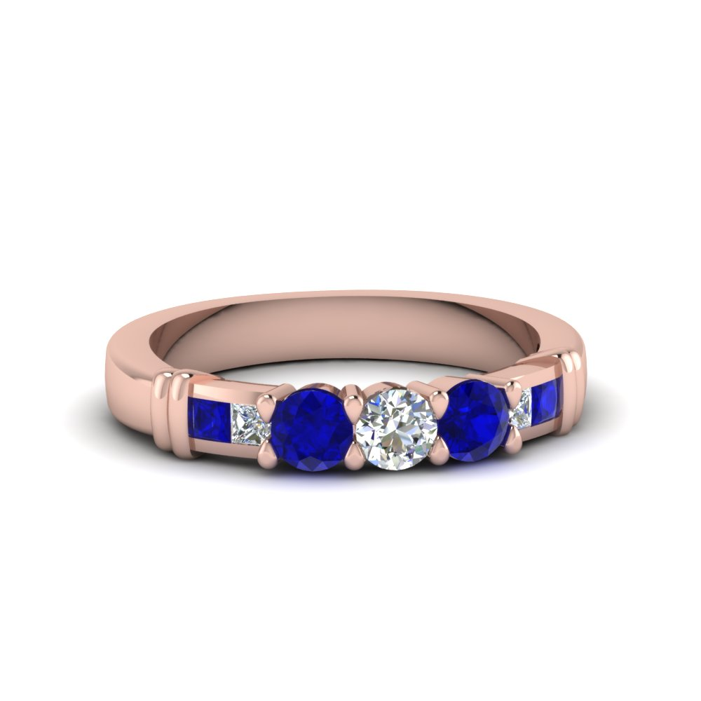 round diamond channel enhancer matching band with blue sapphire in FDENS286BGSABL NL RG