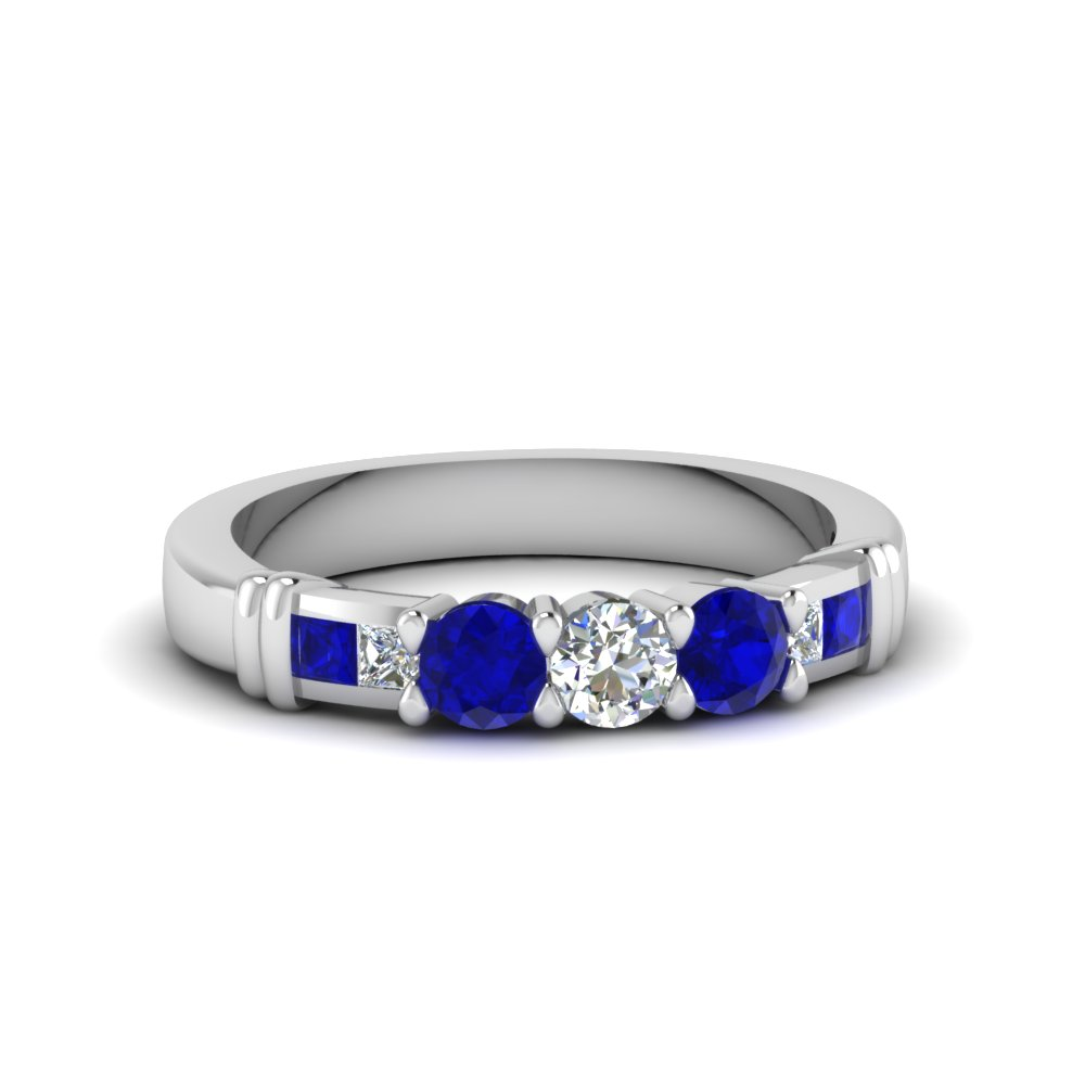 Round Channel Sapphire Matching Band